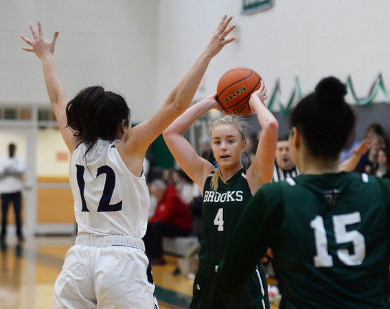 CARL RUSSO/Staff Photo. Brooks School defeated St. Mark's  81-25 in girls basketball action during senior night. Brooks senior, Molly Madigan of North Andover looks to pass. <br /> <br /> The seniors are: Brooke Cordes of North Andover who just recently scored her 1,000th point. Molly Madigan of North Andover, Sydney Robinson of Conn. and Jennifer Connolly of Melrose MA.2/26/2020.