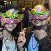 CARL RUSSO/Staff photo The Holy Name Society of Corpus Christi Parish at Holy Rosary Church celebrated its 60th. annual Mardi Gras Carnevale on Sunday afternoon, February 23, at Joe Fish Restaurant in North Andover. Lois and Felix Cosme of Lawrence wear their Mardi Gras mask. <br /> <br /> Around 50-60 people enjoyed a buffet style dinner with dessert, raffle and socializing with new and old friends. The highlight of the day was the crowning of the Mardi Gras' king and queen. 2/23/2020