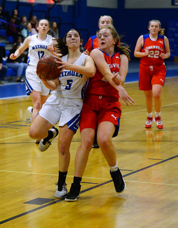 CARL RUSSO/Staff photo Methuen's Stephanie    <br /> Tardugno drives to the basket for the lay up.<br />  Methuen defeated Somerville 61-47 in girls' basketball action Tuesday night. 2/18/2020..