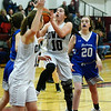 CARL RUSSO/Staff photo Timberlane's Hannah Collins drives down the middle. Pelham defeated Timberlane 52-21 in girls' basketball action Monday night. 2/17/2020.