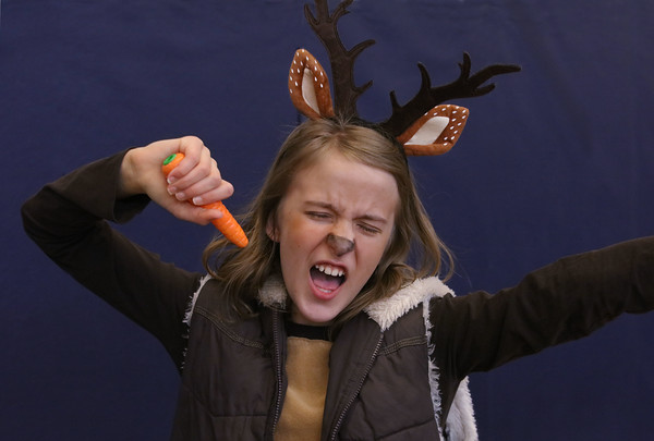 """MIKE SPRINGER/Staff photo<br /> Fifth-grader Jessica Pitcher clowns around as """"Sven""""  in the children's version of the Disney musical """"Frozen"""" on Thursday at Soule Elementary School in Salem. The play was directed by Rebecca Pacuk and featured more than 40 students from the 4th and 5th grades.<br /> 2/20/2020"""