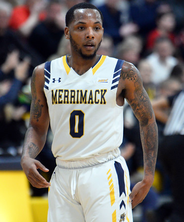CARL RUSSO/Staff photo. Merrimack's Juvaris Hayes ready for action against Sacred Heart. Merrimack College defeated Sacred Heart 64-57 in men's basketball action. 2/21/202