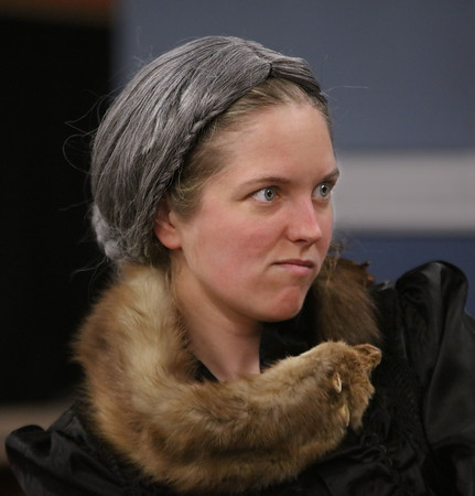 """MIKE SPRINGER/Staff photo<br /> Hanna Burnett of Somerville rehearses a scene in the Spotlight Playhouse's production of """"A Gentleman's Guide to Love and Murder.""""<br /> 2/25/2020"""