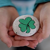 TIM JEAN/Staff photo <br /> <br /> Kylie Lehoullier, 9, of Derry, shows her finish shamrock she painted on a rock during a Kindness Rocks project at First Parish Church in Derry, NH.   2/29/20