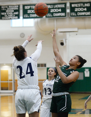 CARL RUSSO/Staff Photo. Brooks School defeated St. Mark's  81-25 in girls basketball action during senior night. Brooks, Katherine Marchesseault of North Andover sails to the hoop. <br /> <br /> The seniors are: Brooke Cordes of North Andover who just recently scored her 1,000th point. Molly Madigan of North Andover, Sydney Robinson of Conn. and Jennifer Connolly of Melrose MA.2/26/2020.