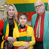 CARL RUSSO/Staff photo Charles and Dalia Shilas of Nahant and their son Kristijonas, 13 dressed in traditional colors of the Lithuanian flag while attending the celebration. <br /> <br /> The Lithuanian American Council and The Knights of Lithuania, Council 78 celebrated its annual Independence celebration on Sunday, February 16. The celebration began with a mass at Corpus Christi Parish at Holy Rosary Church in Lawrence followed by a Lithuanian sausage dinner and entertainment at the parish center.2/16/2020