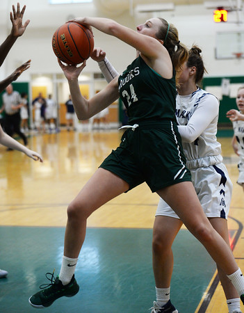 CARL RUSSO/Staff Photo. On February 26, Brooks School defeated St. Mark's 81-25 in girls basketball action during senior night. Senior Brooke Cordes of North Andover sails to the hoop. 2/26/2020.