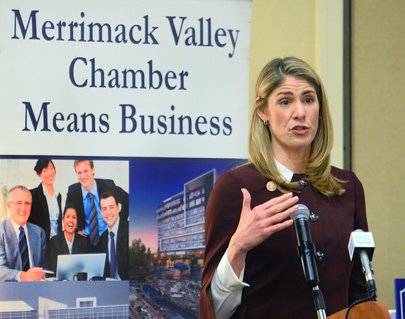 """CARL RUSSO/Staff photo Congresswoman Lori Trahan addresses the audience at the breakfast.<br /> <br /> Local Congressman Seth Moulton and Congresswoman Lori Trahan were guest speakers at the Merrimack Valley Chamber of Commerce breakfast on Monday. The theme was """"A special report from Washington, the challenges and opportunities facing the US in 2020.''  2/10/2020."""
