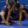 TIM JEAN/Staff photo <br /> <br /> Lawrence's Eric Sanchez, left, wrestles against Xavier Ct., Marcelius Ruiz during the 195 pound finials match at the Methuen Invitational Saturday.    2/1/20