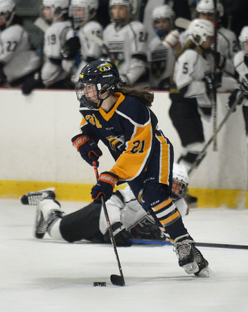 CARL RUSSO/Staff photo Andover's Rose McClean moves the puck. HPNA (Haverhill, Pentucket, North Andover) defeated Andover 4-2 in girls' hockey action. 2/19/2020.