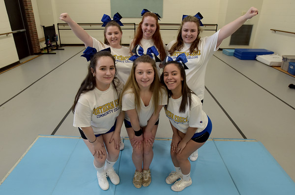 TIM JEAN/Staff photo <br /> <br /> Members of the newly formed cheer squad at Northern Essex Community College from left, in front Anny Paiz, 18, of Lawrence, Mariah Fitch, 19, of Haverhill, and Roselly Lassus, 21, of Haverhill. In back, from left, Jessica Atkinson, 20, of Salisbury, Cathalina Eisan, 20, of Rowley, and Trinity Garodel, 19, of Newburyport. The group meets and practices on the campus in Haverhill.   2/18/20