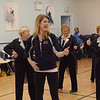 TIM JEAN/Staff photo <br /> <br /> Jonalyn Saxer, center, a professional dancer from Broadway's Mean Girls dancers with members of the Sunset Tappers during a their weekly gathering at Dance Infusion in Andover.   2/5/20