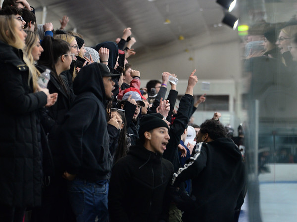 CARL RUSSO/Staff photo North Andover fans cheer for their team. North Andover defeated Tewksbury 3-2 in Div. 2 hockey quarterfinals 2/28/2020
