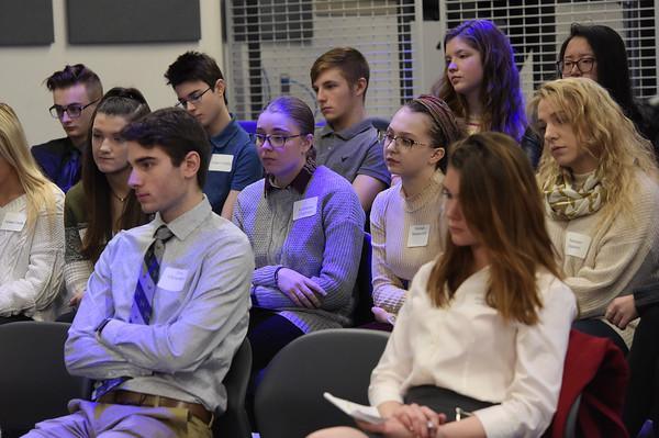 TIM JEAN/Staff photo <br /> <br /> Salem High student listen to a panel of business leaders during Greater Salem Chamber of Commerce Business Education Collaborative  Business Pathways program at Salem High School.   2/5/20