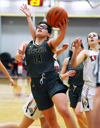 CARL RUSSO/Staff photo Haverhill's Kyalee Burdier drives to the basket. Haverhill defeated North Andover 52-47 in girls' basketball action. 2/7/2020.