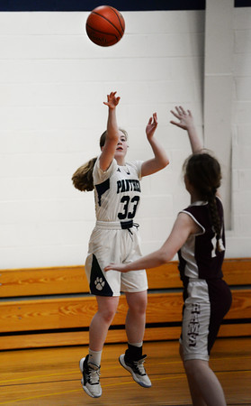 CARL RUSSO/Staff photo PMA's Shannon Colleyer takes the three point jump shot. Presentation of Mary Academy defeated Felllowship Christian Academy 51-43 in girls' basketball action Tuesday afternoon. 2/04/2020