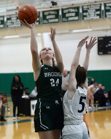 CARL RUSSO/Staff Photo. On February 26, Brooks School defeated St. Mark's 81-25 in girls basketball action during senior night. Senior Brooke Cordes of North Andover makes the lay up. 2/26/2020.