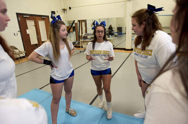 TIM JEAN/Staff photo <br /> <br /> In center, Roselly Lassus, 21, of Haverhill, talks with members of the newly formed cheer squad at Northern Essex Community College. The group meets and practices on the campus in Haverhill.   2/18/20