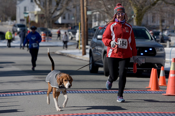 TIM JEAN/Staff photo <br /> <br /> <br /> Runners and dog took part in the annual Bradford Valentine Road Race. Finishers received a small box of chocolates, commemorative medal, and a Valentines flower.  2/8/20