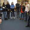 "TIM JEAN/Staff photo <br /> <br /> At right, Sully Erna, lead singer of rock band Godsmack talks Hood Middle School students as they learn part of a song before filming a video for  ""Unforgettable.""      2/14/20"