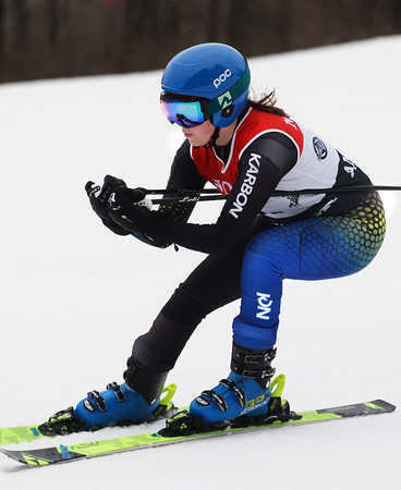 CARL RUSSO/staff photo. North Andover's Mackenzie Guthrie. Ski teams from Andover, Haverhill and North Andover competed in North Shore Ski League meet on Monday at Bradford Ski. 2/10/2020.