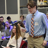 TIM JEAN/Staff photo <br /> <br /> Salem High student Spencer Deane asks a question during Greater Salem Chamber of Commerce Business Education Collaborative  Business Pathways program at Salem High School.   2/5/20