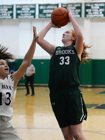 CARL RUSSO/Staff Photo. On February 26, Brooks School defeated St. Mark's 81-25 in girls basketball action during senior night. Samantha Dewey of Melrose takes the short jumper. 2/26/2020