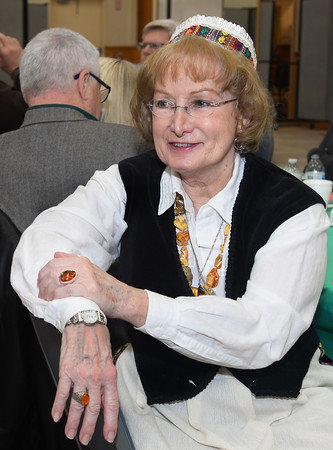 CARL RUSSO/Staff photo Like Amelia Stundzia of Lawrence, Eva Taper of Methuen dressed in a traditional Lithuanian outfit while attending the Lithuanian Independence celebration.   <br /> <br /> The Lithuanian American Council and The Knights of Lithuania, Council 78 celebrated its annual Independence celebration on Sunday, February 16. The celebration began with a mass at Corpus Christi Parish at Holy Rosary Church in Lawrence followed by a Lithuanian sausage dinner and entertainment at the parish center.2/16/2020