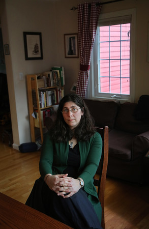 MIKE SPRINGER/Staff photo<br /> Cantor Vera Broekhuysen, spiritual leader of Haverhill's Temple Emanu-El, at home in North Andover. Cantor Broekhuysen  recently traveled to Guatemala to learn about the human rights situation there.<br /> 2/12/2020