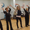 TIM JEAN/Staff photo <br /> <br /> Jonalyn Saxer, third from left, a professional dancer from Broadway's Mean Girls dancers with members of the Sunset Tappers during a their weekly gathering at Dance Infusion in Andover.   2/5/20