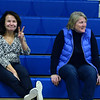 CARL RUSSO/staff photo. BACK AGAIN: Together with over 50 years of experience in coaching girls basketball, former Methuen high coaches, Mimi Hyde left and Karen McLaughlin watch the Methuen Rangers defeat Framingham in girls' basketball action Sunday afternoon. Mimi Hyde and Karen McLaughlin were state championship head and assistant coaches respectively. McLaughlin was also head coach for 15 years after Hyde retired. 2/9/2020.