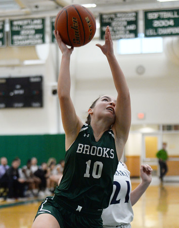 CARL RUSSO/Staff Photo. Brooks School defeated St. Mark's  81-25 in girls basketball action during senior night. Kate Coughlin of Reading drives to the basket. <br /> <br /> The seniors are: Brooke Cordes of North Andover who just recently scored her 1,000th point. Molly Madigan of North Andover, Sydney Robinson of Conn. and Jennifer Connolly of Melrose MA.2/26/2020.