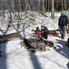TIM JEAN/Staff photo <br /> <br /> Hikers warm up by the fire pit and roast marshmallows during the Annual Musquash Field Day in Londonderry, NH.  2/15/20