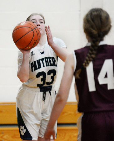 CARL RUSSO/Staff photo PMA's Shannon Colleyer lines up her three point jump shot. Presentation of Mary Academy defeated Felllowship Christian Academy 51-43 in girls' basketball action Tuesday afternoon. 2/04/2020