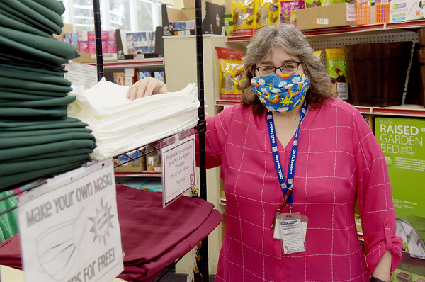 TIM JEAN/Staff photo<br /> <br /> Sharon Aslin, Assistant Store Leader at Ocean State Job Lot in Salem, NH. Aslin is this weeks Hometown Hero for her work in the store helping raise money for firefighters and giving fabric away to shoppers who need masks or want to make masks. Aslin has worked throughout the pandemic as an essential employee.  5/1/20