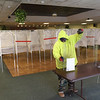 TIM JEAN/Staff photo<br /> <br /> A Methuen DPW worker sets up plexiglass on a table to keep officials safe during Election Day at the Methuen Senior Center.    11/2/20