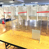 TIM JEAN/Staff photo<br /> <br /> Tape blocks of every other space in voting booths as plexiglass on tables will keep officials safe during Election Day at the Methuen Senior Center.    11/2/20