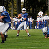 TIM JEAN/Staff photo<br /> <br /> Salem quarterback Noah Mustapha (11) looks over the field to make a play against Londonderry during a football game at Londonderry High School. Londonderry defeated Salem 16-0.     10/3/20