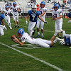 TIM JEAN/Staff photo<br /> <br /> Londonderry quarterback Dylan McEachern dives towards the end zone and scores a touchdown against Salem during a football game at Londonderry High School. Londonderry defeated Salem 16-0.     10/3/20