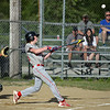 RYAN HUTTON/ Staff photo<br /> North Andover's Mikey Sullivan swings away at the ball to hit a two-run homer in the top of the first inning of Thursday's game at Billerica.