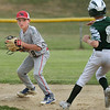 CARL RUSSO/staff photo. North Andover's Cam Bodenrader makes the out at second and looks to throw to first for a double play but decided against it. The North Andover American Little League team was defeated by Billerica 4-3 in District 14 best-of-3 finals. The teams will play the second game on Thursday night in Billerica. 7/10/2018