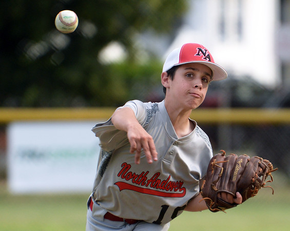CARL RUSSO/staff photo.  North Andover's starting pitcher, Zach Faro in action. The North Andover American Little League team was defeated by Billerica 4-3 in District 14 best-of-3 finals. The teams will play the second game on Thursday night in Billerica. 7/10/2018