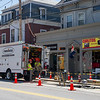 AMANDA SABGA/Staff photo<br /> <br /> Contract crews work on a gas leak on Winter Street near White Street in Haverhill. <br /> 7/10/18