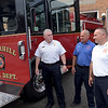 TIM JEAN/Staff photo<br /> <br /> Haverhill Fire Chief Bob O'Brien, left, Lt Mike Picard, and Deputy Chief Eric Tarpy check out one of the three new fire trucks recently purchased by the City outside at the Water Street fire station.  7/1/21