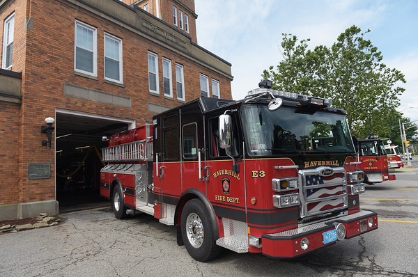 TIM JEAN/Staff photo<br /> <br /> One of three new fire trucks the City of Haverhill recently purchased outside at the Water Street fire station in Haverhill.  7/1/21