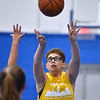 CARL RUSSO/Staff photo Haverhill's Kya Burdier takes the jump shot. North Andover defeated Haverhill 52-34 in Girls Basketball Summer League played at Methuen high school. 7/21/2021