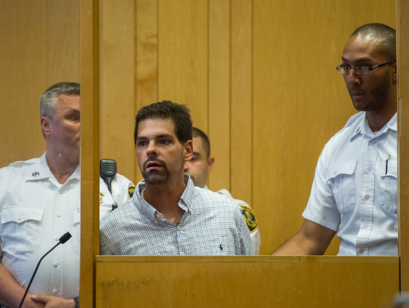 AMANDA SABGA/Staff photo<br /> <br /> Steven O'Neil, 38, of Methuen is arraigned in Lawrence District Court after barricading himself in his Methuen home Wednesday morning. <br /> <br /> 6/14/18