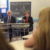 TIM JEAN/Staff photo<br /> <br /> <br /> Methuen Mayor James Jajuga, left, listens to Attorney General Maura Healey as she speaks during a roundtable discussion with students and school officials on the importance of substance use and prevention education programs at Marsh Grammar School.  6/14/18