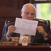 TIM JEAN/Staff photo<br /> <br /> <br /> George Kazanjian, West District Councilor looks over a spread sheet provided by Charles Lyons while he speaks during the public hearing on the 2019 budget in the Great Hall of Methuen City Hall.   6/12/18