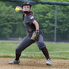 CARL RUSSO/Staff photo. Whittier's Alicia Habib looks to make the throw to first for the out. Whittier Tech was defeated 10-2 by North Reading in Div. 2 North softball semifinals. 6/13/2018